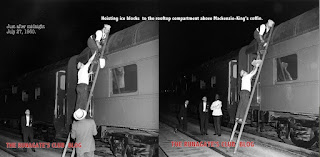 CNR crew quickly load ice into the Mackenzie King funeral train, July 27, 1950