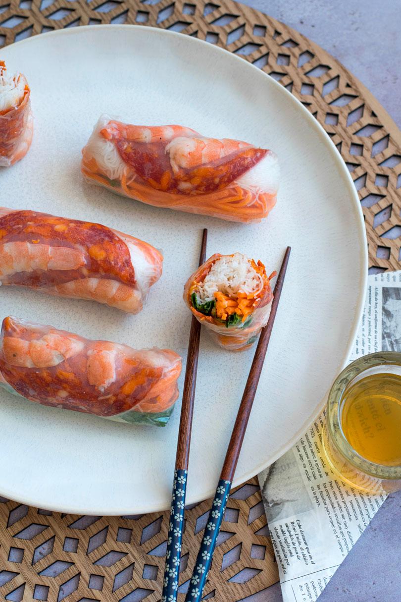 recette Rouleaux de printemps aux crevettes et chorizo