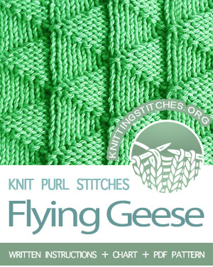 REVERSIBLE KNITTING - KNIT and PURL Stitches. #howtoknit the Flying Geese stitch. FREE written instructions, Chart, PDF knitting pattern.  #knittingstitches #knitting #knitpurl