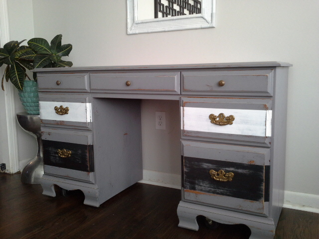 Rustic Grey White and Black Painted Desk