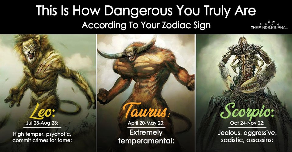 How Dangerous You Truly Are According To Your Zodiac Sign? Find Out Here
