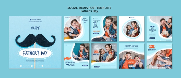Colorful fathers day instagram post collection Free Psd