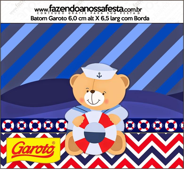 Etiquetas Garoto de Osito Marinero para imprimir gratis.