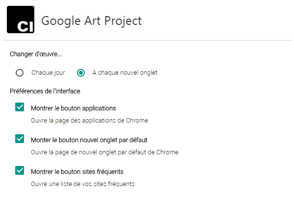 page par defaut chrome