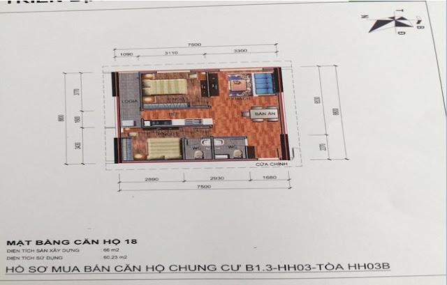 Sơ đồ thiết kế căn hộ 18 chung cư B1.3 HH03B Thanh Hà Cienco 5