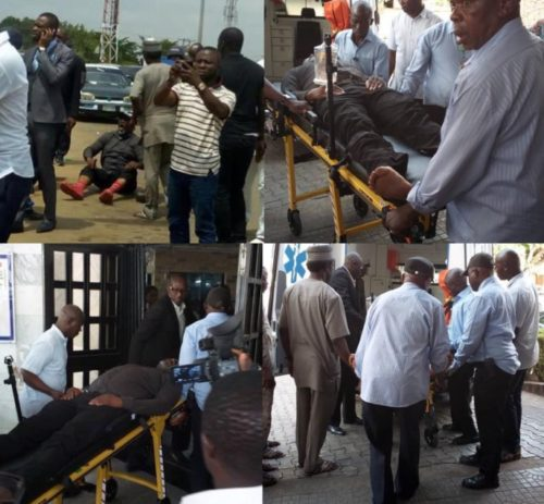 Senator Dino Melaye in police net after injuring himself trying to escape by jumping out from a moving police van (Photos)