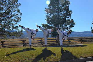 Three Taekwondo black belts performing side kicks