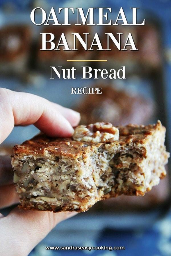 Oatmeal Banana Nut Bread Recipe #baking #bread #bananabread #food #homemade #foodblogger #recipes #recipe