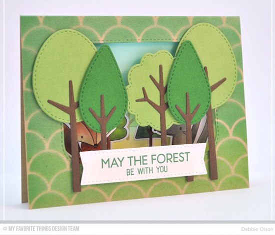 Handmade Card from Debbie Olson featuring  Forest Friends stamp set and Die-namics, and Tree-mendous, Inside & Out Stitched Rounded Rectangle STAX, and Blueprints 20 Die-namics, and Cascading Scallop stencil #mftstamps