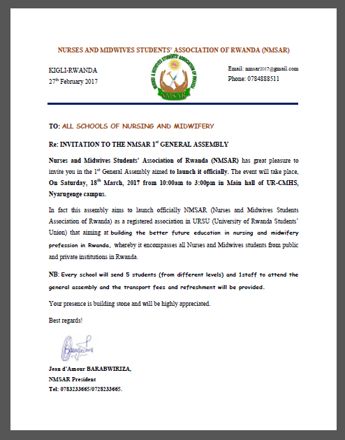 Ausc presidents open congratulatory letter to the nurses and ausc presidents open congratulatory letter to the nurses and midwives students association of rwanda nmsar 1st general assembly stopboris Gallery