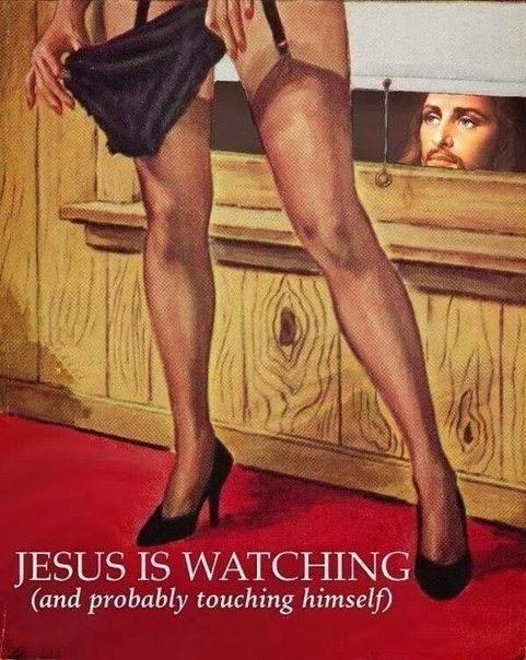 Spass Bild witzig - Jesus Christus beobachtet dich lustig - Durch Fenster schauen