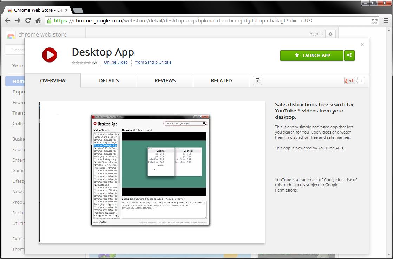 Sandip Chitale's Blog: Desktop App for YouTube on Chrome web