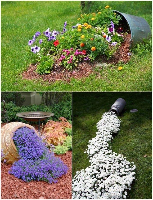 Muito mais verde derramando flores pelo jardim for Como decorar el jardin con cosas recicladas
