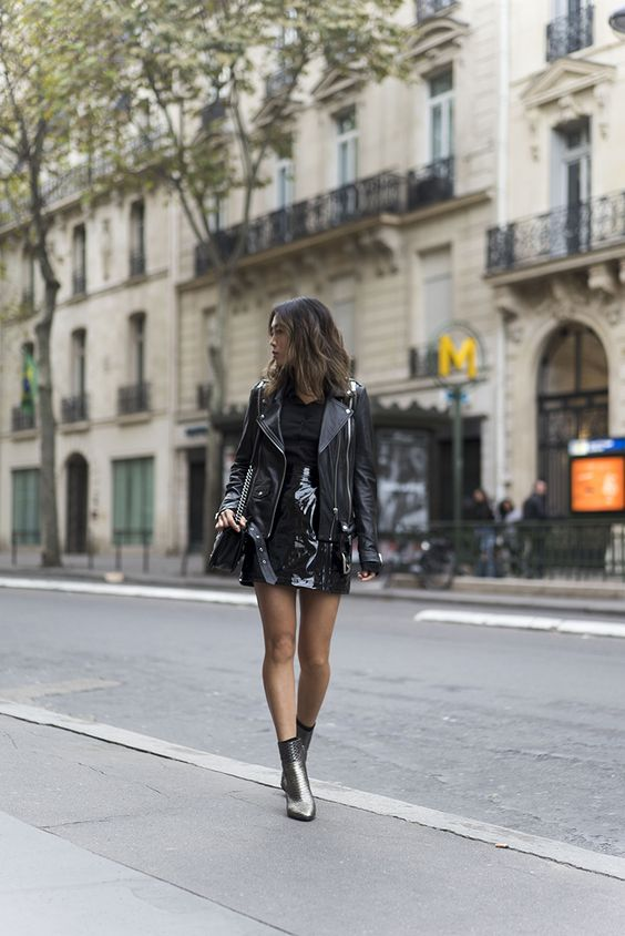 Aimee Song of Style Leather Jacket Ankle Boots
