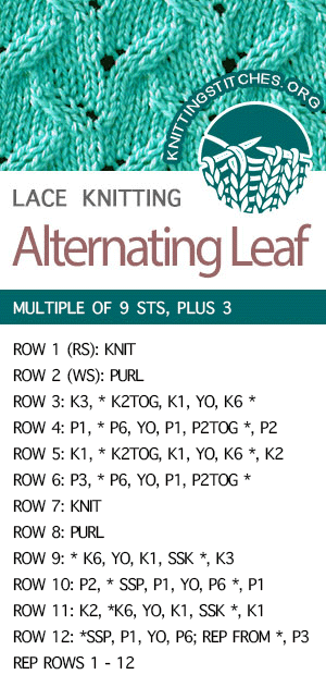#KnittingStitches -- Alternating Leaf Stitch Pattern. FREE written instructions. The lace stitch would be great for hats, blankets, and scarves! #knitting #knit #stitchpattern