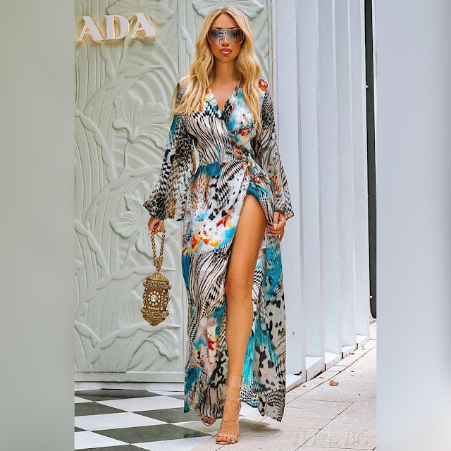 Μακρυμάνικο εντυπωσιακό μάξι χρωματιστό φόρεμα DELANIA