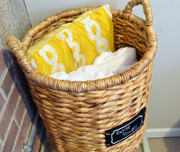 Towels in wicker basket