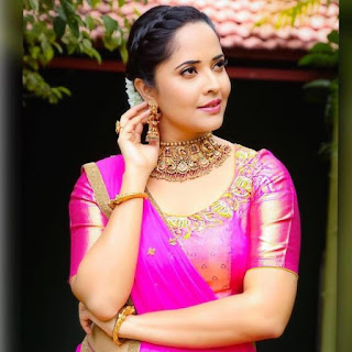 Indian TV Girl Anasuya Bharadwaj Stills in Traditional Pink lehenga Choli (3)