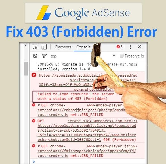 Adsense Ad Code - Fix 403 (Forbidden) Error