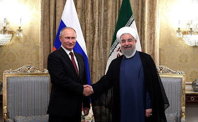 A bilateral meeting of Vladimir Putin with President of the Islamic Republic of Iran Hassan Rouhani.