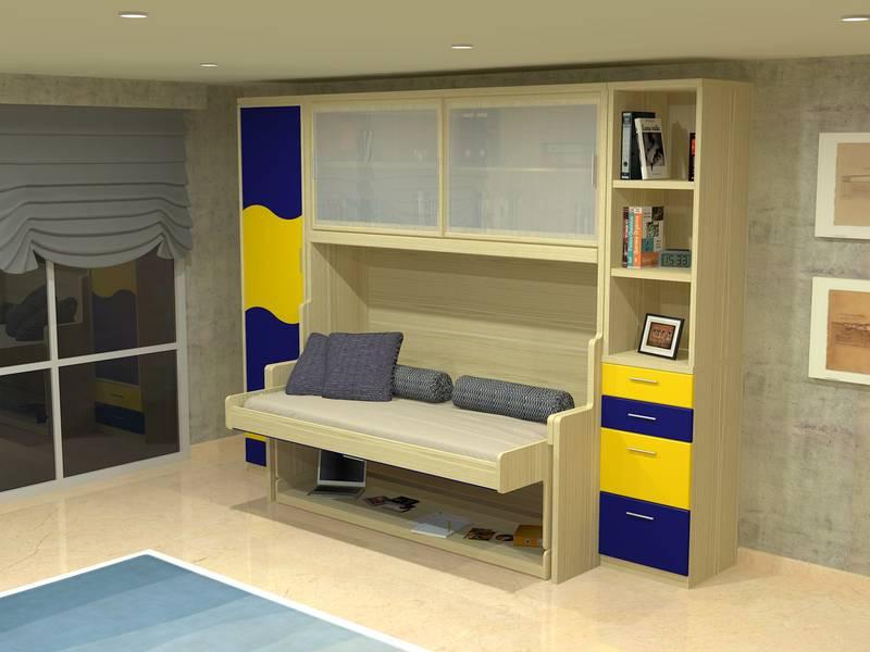 Camas abatibles con escritorio for Cama puente con escritorio