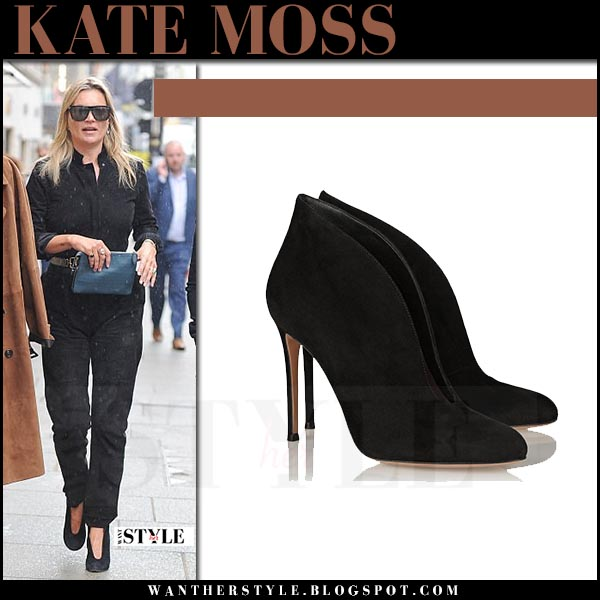 Kate Moss in black jumpsuit and black suede ankle boots gianvito rossi vamp what she wore april 24 2017