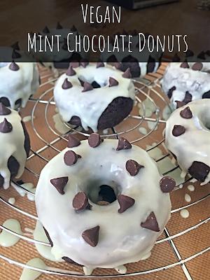 Vegan Mint Chocolate Chip Donuts