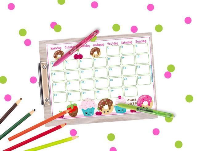 kalender juni 2018 printen, gratis kalender, kalender voor kinderen, aftelkalender, grappige kalenders, leuke kalender, kleurige kalender, kalender voor in de klas, kinder kalender, kalender in kawaii, printen kalender, juni, juni 2018, kalender kopen, kalender bestellen