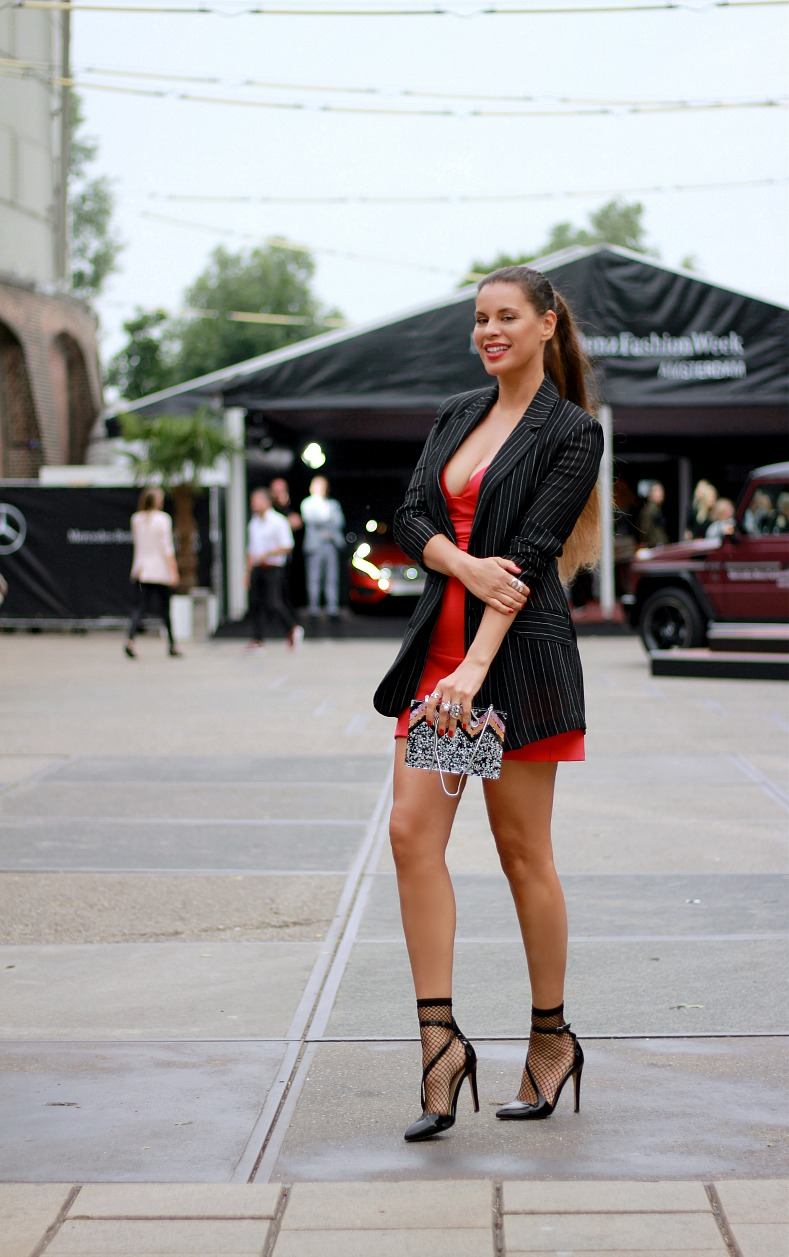 Tamara Chloé, Red Zara dress, Fashion Week Amsterdam