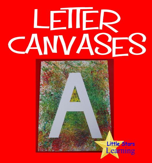 little stars learning tape resist letter canvases