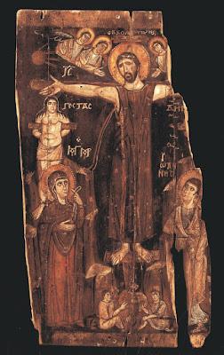 Σπάνια εικόνα της Σταύρωσης (8ος αιώνας). Βρίσκεται στην Ιερά Μονή Θεοβαδίστου Όρους Σινά, Αγίας Αικατερίνης