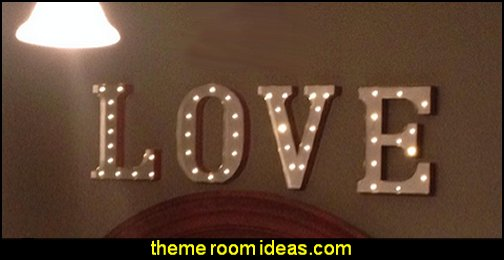 Vintage Marquee Lights wall decorations - wall art prints - wall stencils - wall murals - wall decals - wall decor - Lighted Letters - wall letters - Storage wall shelves