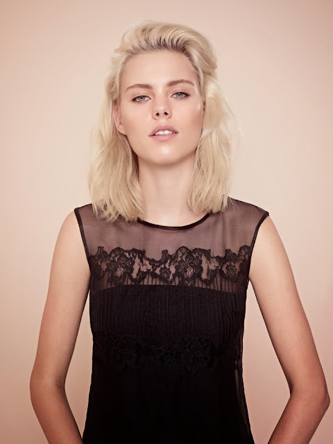 French Connection black sheer lace top