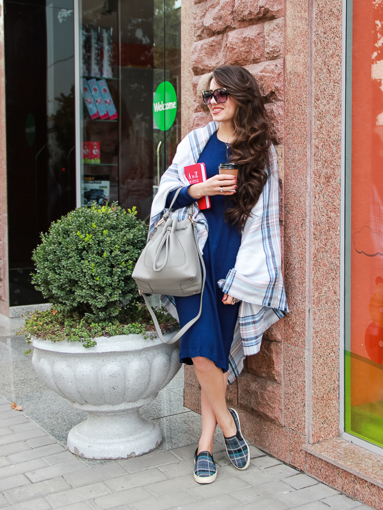 fashion blogger diyora khalilova diyorasnotes oversized scarf asos midi dress slipons grey bag zara