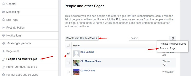 ban who Liked the page