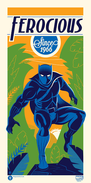 New York Comic Con 2017 Exclusive Black Panther Ferocious Since 1966 Marvel Screen Print by Dave Perillo x Grey Matter Art