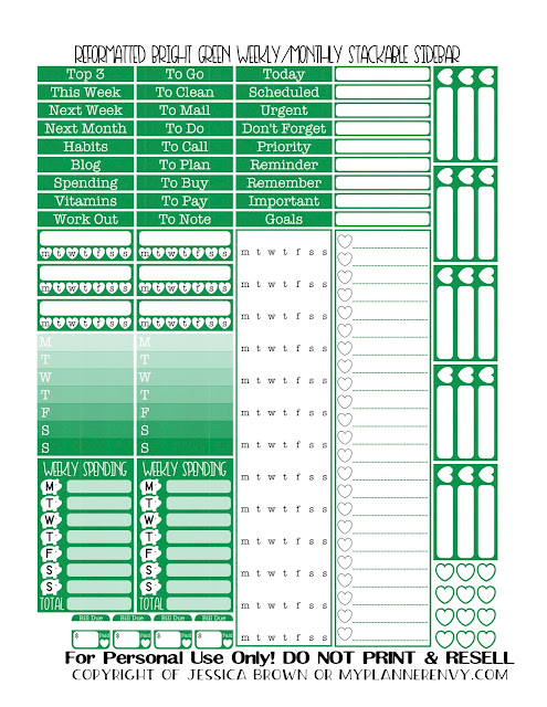 Free Printable Reformatted Monthly/Weekly Stackable Sidebar in Bright Green from myplannerenvy.com