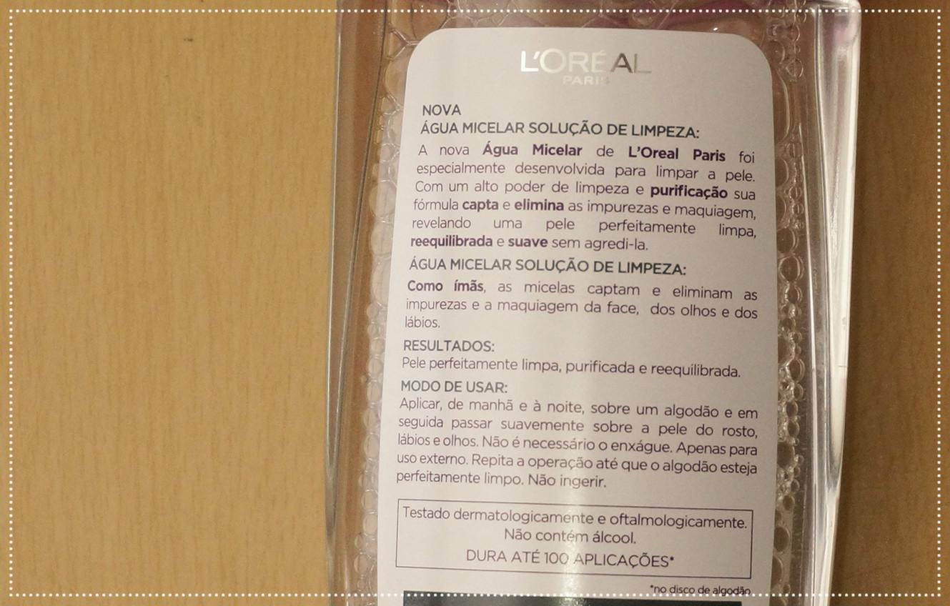 água micelar L'Oréal, ingredientes água micelar L'Oréal, água micelar, como usar água micelar