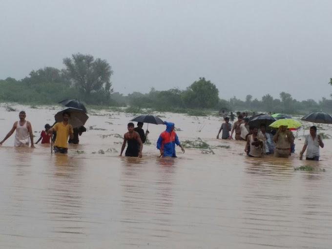 कृषि कुएँ में फंसे लोगों को पुलिस की सहायता से बाहर निकाला,सुकड़ी नदी उफान पर