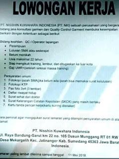Lowongan Kerja Jatinangor 2018 Di Pabrik PT NKI Cipacing