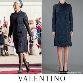 Crown Princess Mette-Marit wore Valentino Lace Coat-Dress