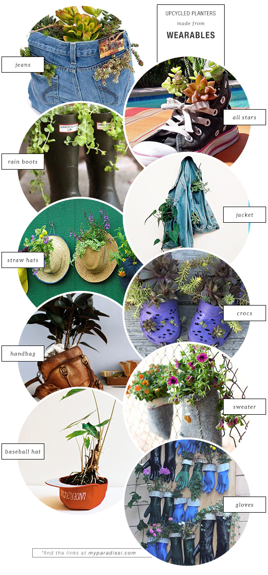 10 unexpected upcycled planters made from wearables