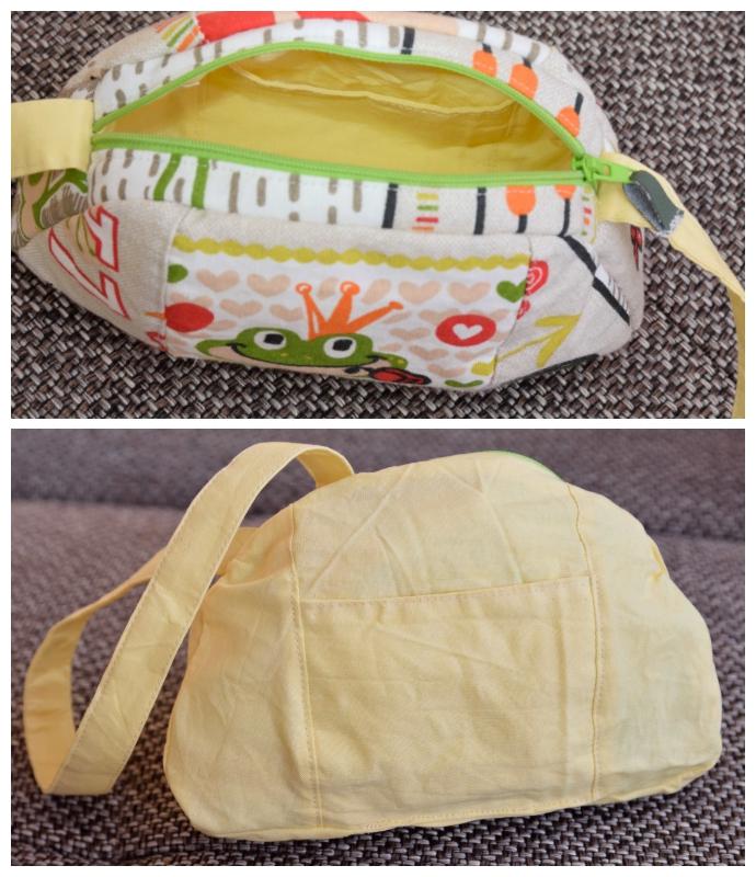 Ein Blick ins Innere der Tasche: Gelbe einfarbige Baumwolle und ein aufgesetztes Fach für Kleinigkeiten