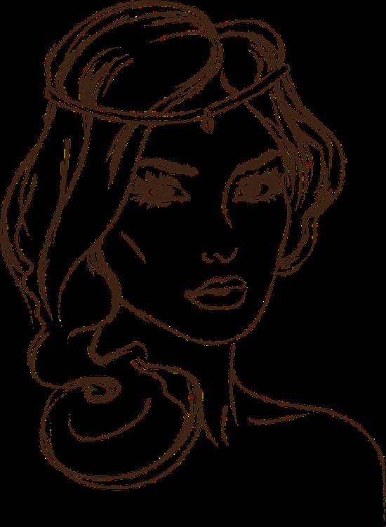 Рисунок в контуре головы