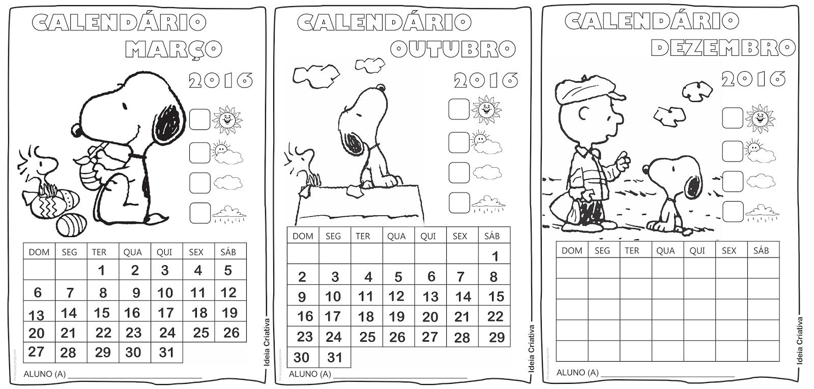 Desenho Do Snoopy Para Colorir: Calendários Mensais Do Snoopy Para Atividades Em Sala