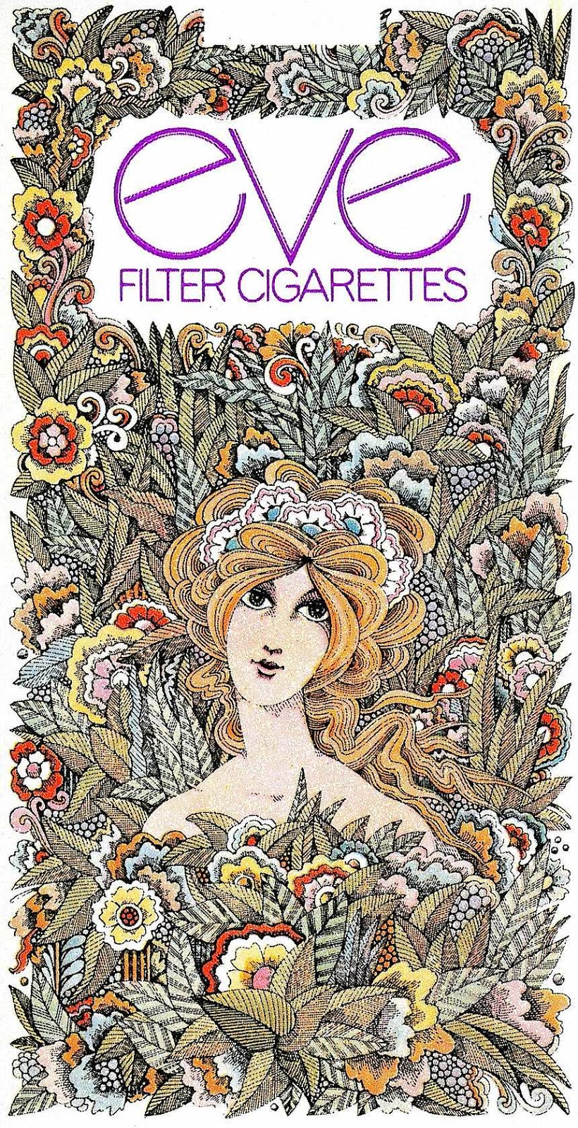 1971 Eve cigarettes package illustration