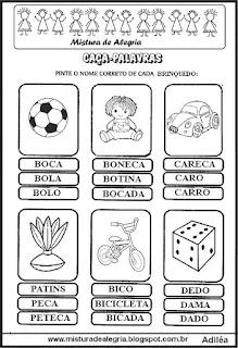 Caça-palavras com nomes de brinquedos
