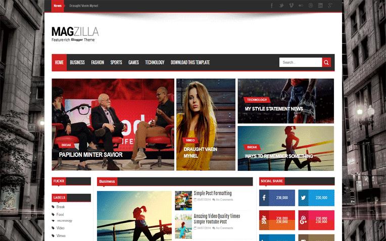 Mag Zilla Free Blogger Template