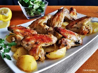 Alitas de pollo al horno con patatas