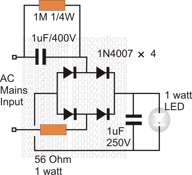 simplest 1 watt led driver circuit at 220v  110v mains voltage